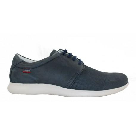 Zapato cordones piel nobuck azul/taupe, Callaghan