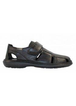 Sandalia piel negro/cuero, Callaghan