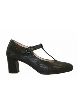 Zapato T-strap piel negro, Hispanitas