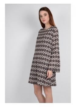 Vestido evasé print geometrico