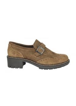 Zapato flecos piel marrón, Carla Rosetti