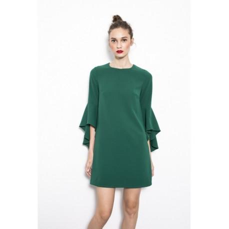 Vestido manga campana verde