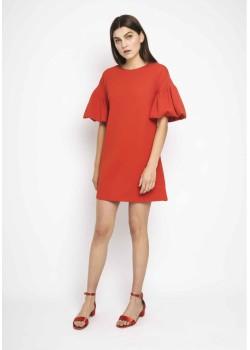 Vestido rojo manga farol