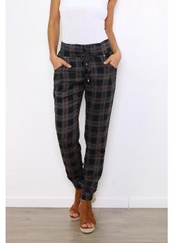 Pantalón estampado escocés marrón.