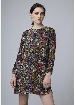 Vestido recto flores multicolor